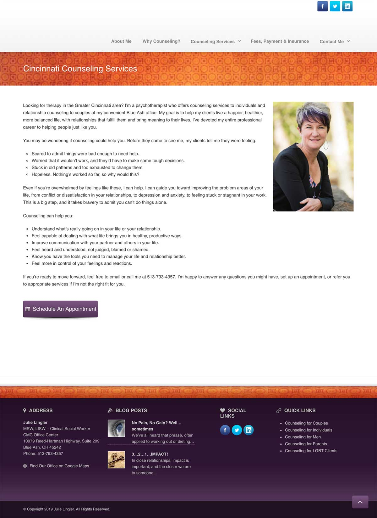 Julie Lingler therapist web design sample